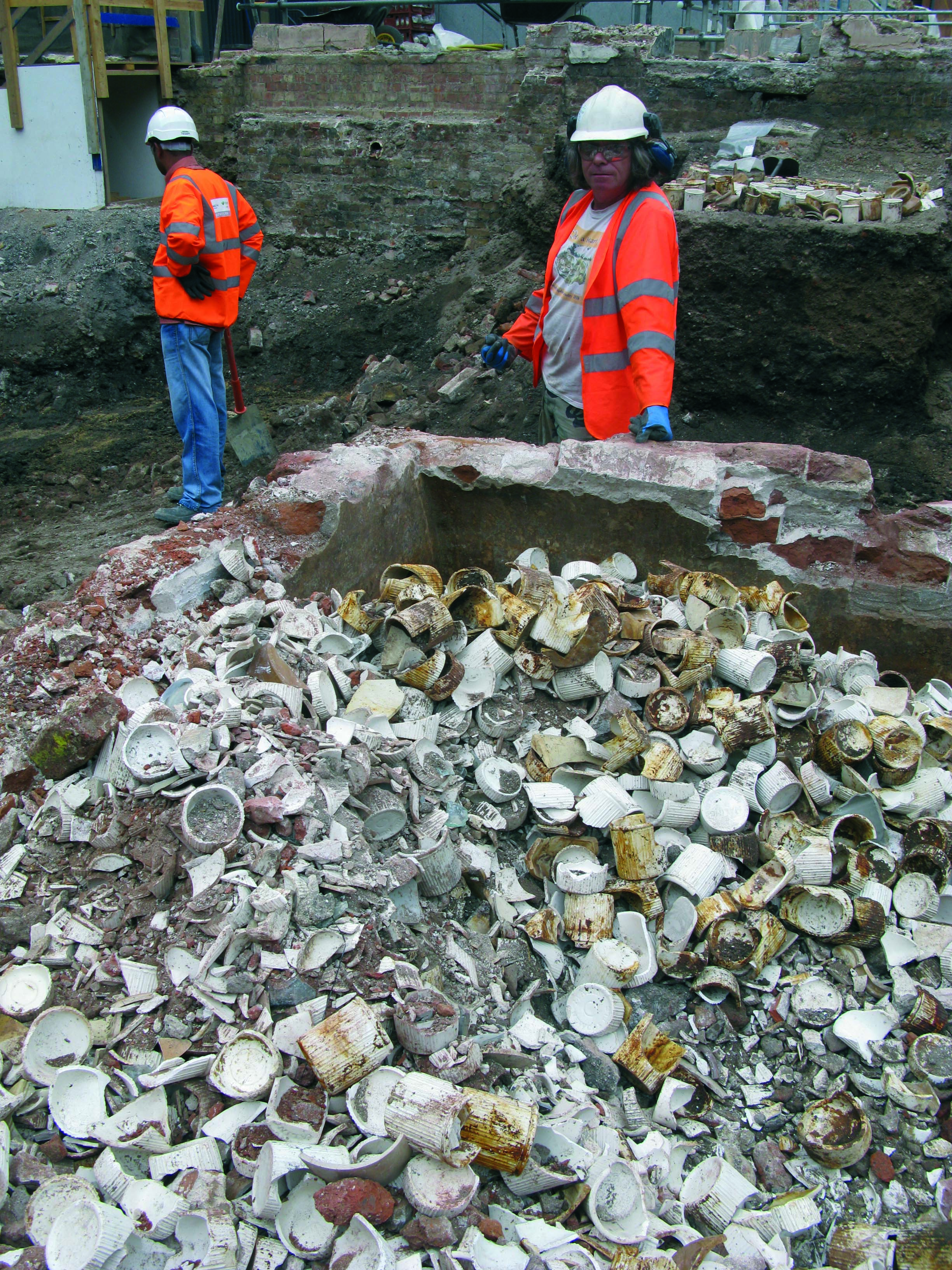 MOLA Archaeologists discover a large number of finds at the Tottenham Court Road site (c) Crossrail