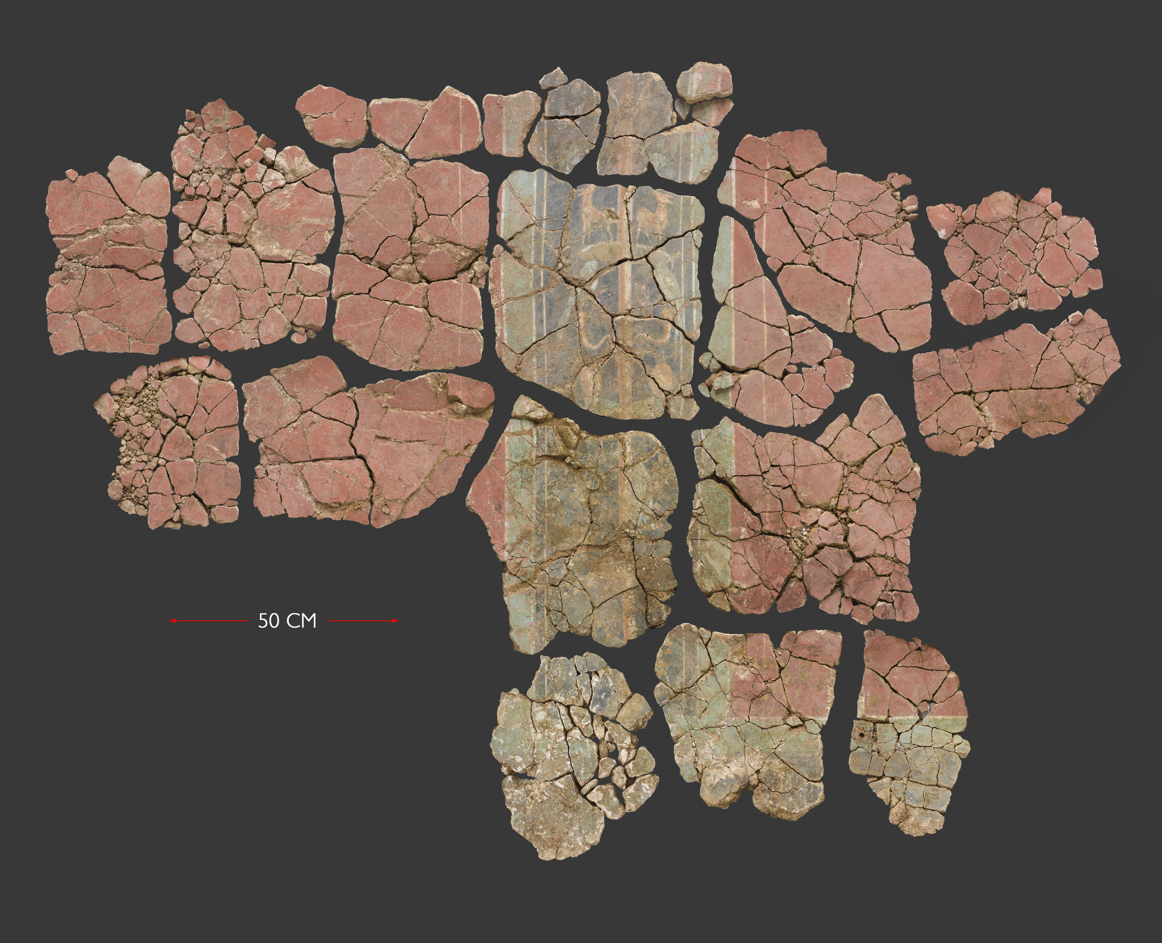 A Roman fresco which more than 2m wide and 1.5 metres high (c) MOLA
