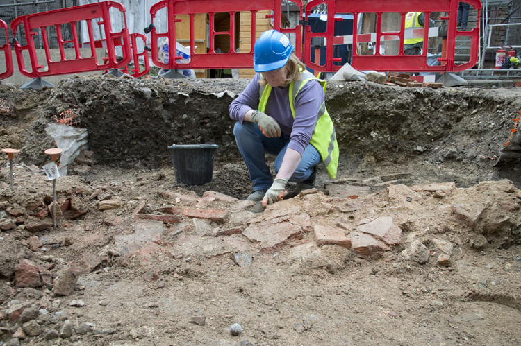 Tiles that sat below the London's Roman Forum in the 2nd-century (c) MOLA