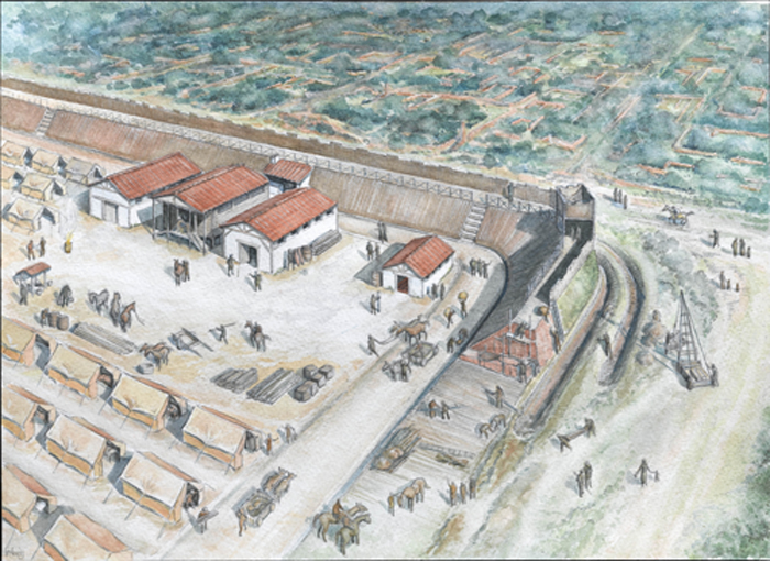 Reconstruction of the Plantantation Place fort under construction c AD 63 (c) Faith Vardy