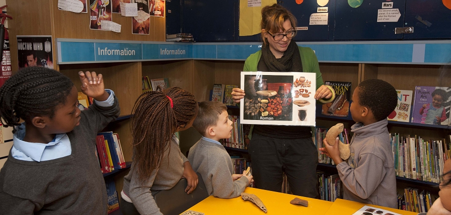 Local school kids turn their hands to excavation in Camberwell Library, accomodated by Southwark Council.