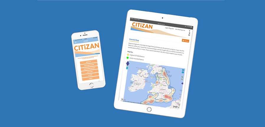 CITiZAN app and coastal map (c) CITiZAN/MOLA