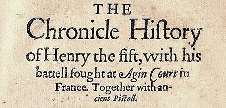 The chronicle of Henry V title page