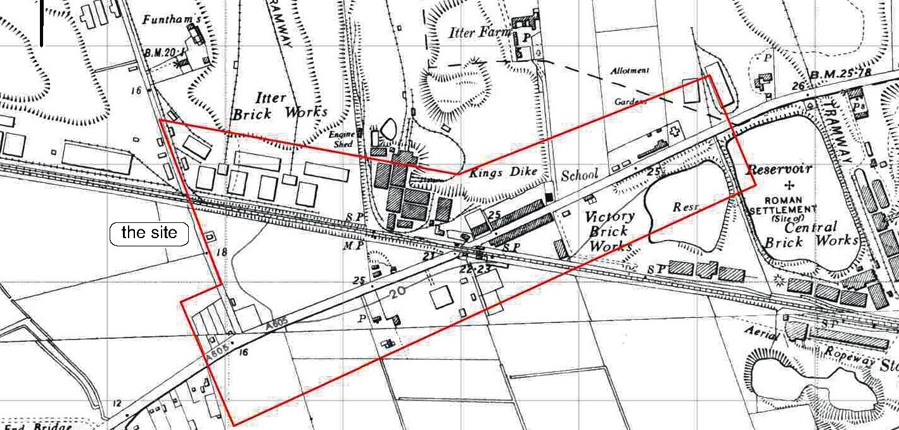 Map of Kings Dyke, Cambridgeshire from the 1950s