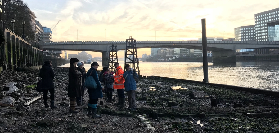 Archaeology Ambassadors on the foreshore with MOLA