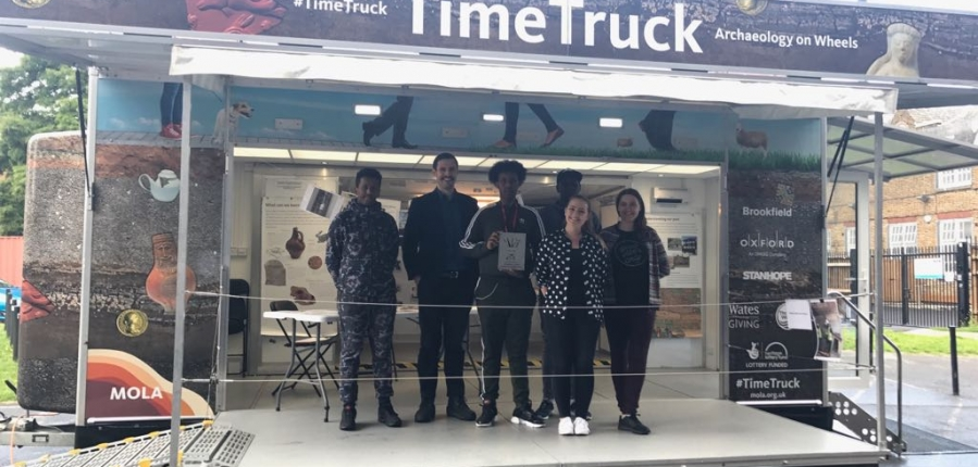 MOLA's Built Heritage Youth Engagement participants and mentors on board the Time Truck (c) MOLA