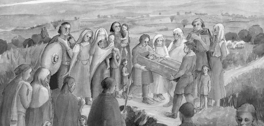 Artist's reconstruction of a burial scene at Mucking, Essex (c) MOLA