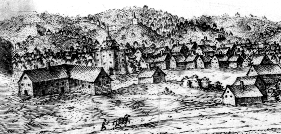 The View of the Cittye of London from the North towards the South, an engraving by Abram Booth c. 1599