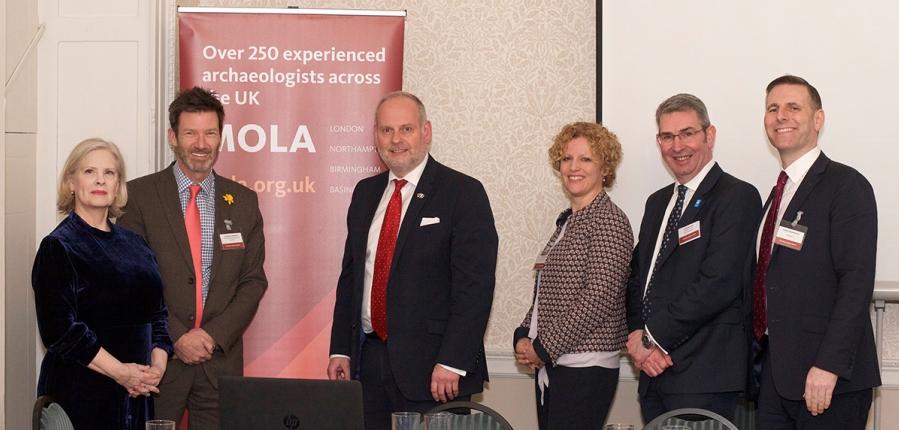 The panellists, from left to right, Janet Miller, George Candler, Jonathan Nunn, Heather Pugh, John Sinclair and David Bainbridge (c) MOLA.jpg
