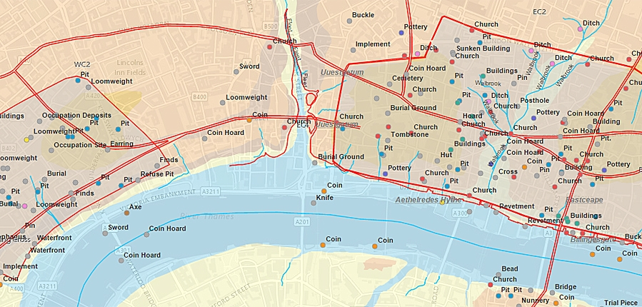 Archaeology of Greater London online map – London in Map