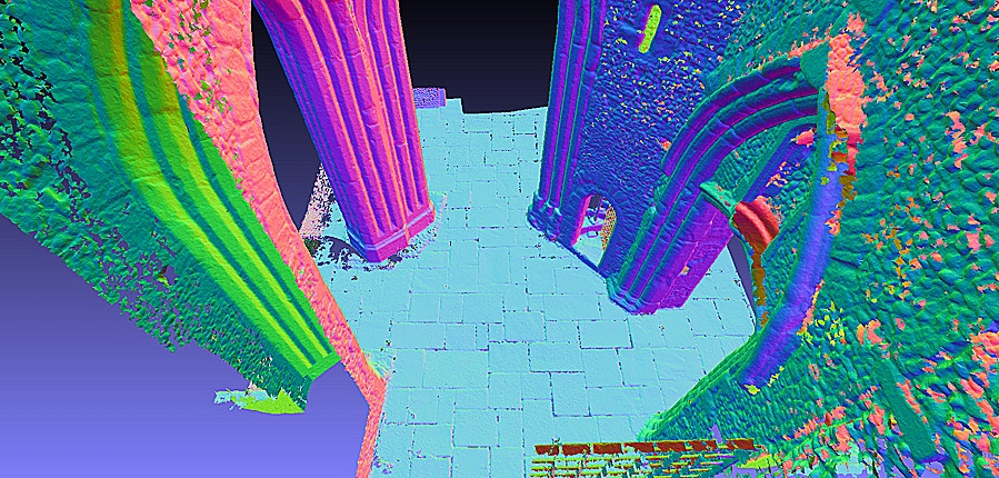 Mesh model of St Alphage Tower, created with 3D scan data