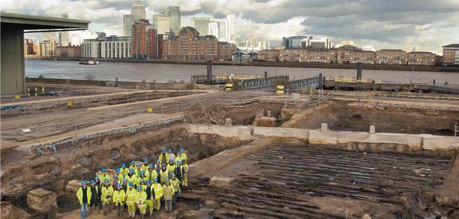 MOLA (Museum of London Archaeology) team at Convoys Wharf