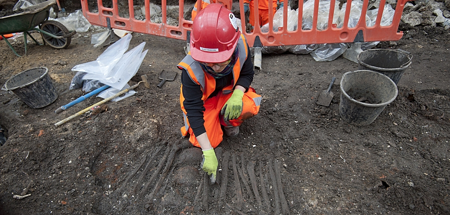 MOLA archaeologist excavating the Bedlam burial ground for Crossrail