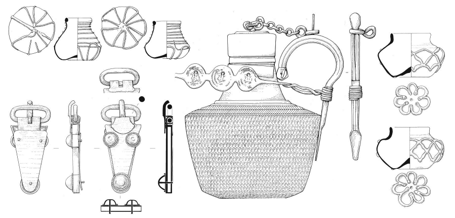 Archaeological illustrations of Saxon finds from the Prittlewell princely burial
