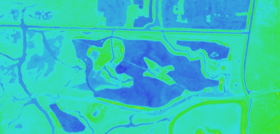 Digital Elevation Model - lower areas are blue
