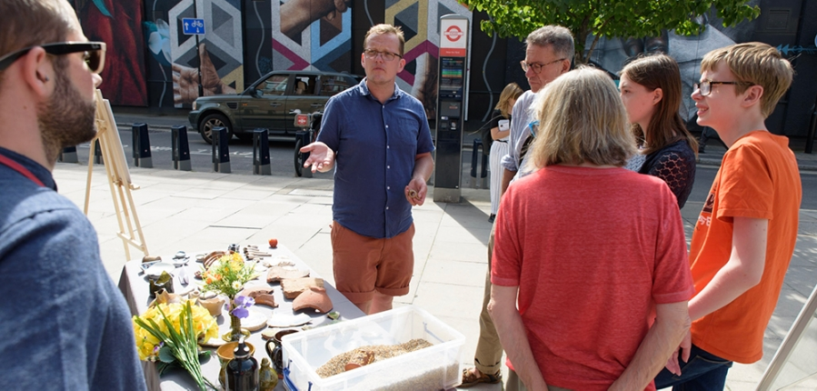 MOLA archaeologist engaging with the public at Shake It Up Festival 24 Aug 19 Copyright @mishkopapic