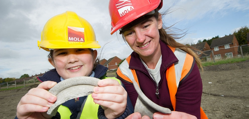 Susan Porter from MOLA on site in Oxfordshire with Redrow Homes and St Blaise C of E Primary School