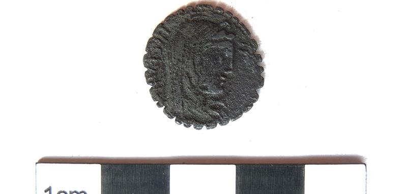 Serrated denarius of 81 BC showing the veiled head of Hispania' (c) MOLA