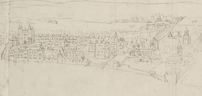 A panorama of the area around the Strand as seen from Southwark in around 1543, by Anthonis van den Wijngaerde. It is not know which building represents Chester Inn. (c) Ashmolean Museum, University of Oxford