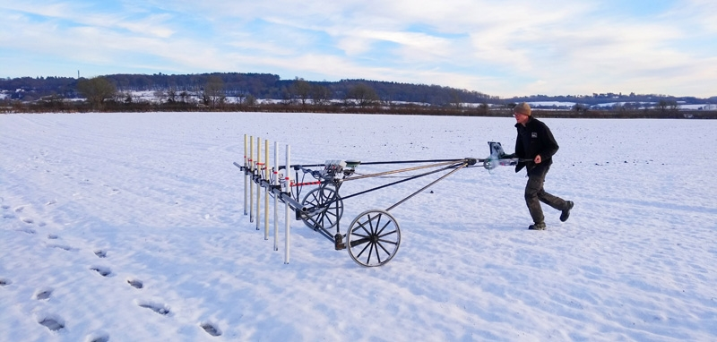 Geophysics cart in the snow (c) MOLA