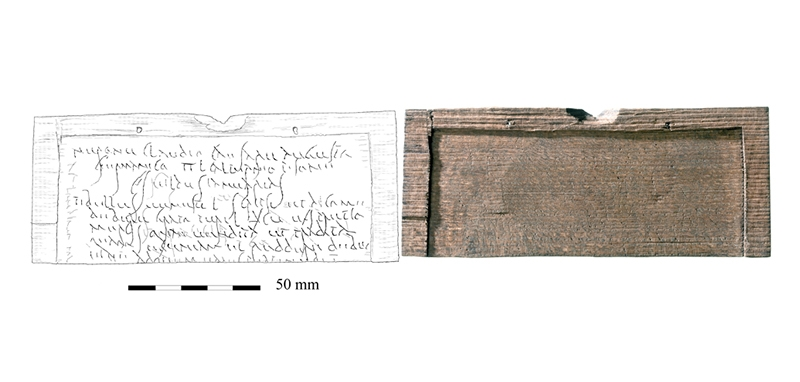 A drawing and photograph of the third writing tablet, <WT44>, the oldest handwritten document from Britain.
