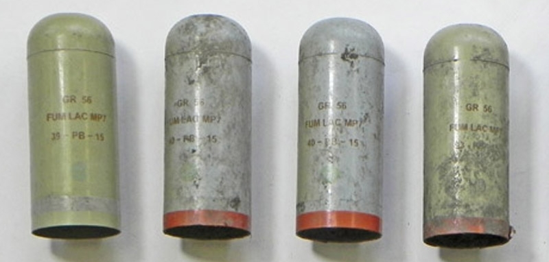 Some teargas canisters fragments. These are all from Nobel Sport, and date to 2015 © MOLA.