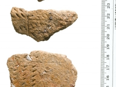 Three Early Neolithic pottery sherds, part of a fine S-profiled round-bottomed bowl with panels of incised decoration placed above and below the rounded shoulder. This appears to have been used to process dairy products (eg milk, cheese etc) © MOLA