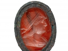 5) Carnelian intaglio brooch or locket from well