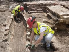 Structural remains of the Curtain Road Gas Works during excavation at Principal Place