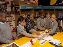 School children with a mosaic