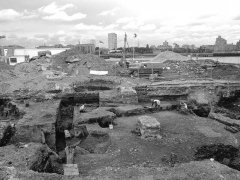 View of the archaeological excavations at Pacific Wharf, Rotherhithe, from the south