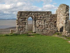 The ruins of the early medieval St Patricks's chapel sit on the cliff edge on National Trust land at Heysham Head, Lancashire.