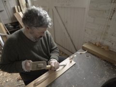 Ancient timber specialist from MOLA, Damian Goodburn, makes a reconstruction tablet (c) NextShoot