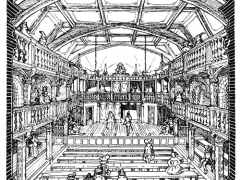Blackfriars is an example of a theatre, with a closed roof.  This image was drawn by GT Forrest in 1921 using legal descriptions of the theatre. (Courtesy of Wiki Commons)