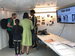 Built Heritage Youth Engagement Programme participants discuss their work on the Time Truck