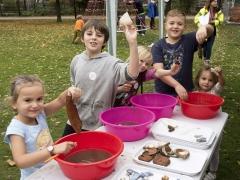 Children finds washing at the Allen Gardens Open Day in Shoreditch