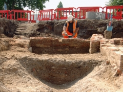 Author and Archaeologist David Sankey digging at Stepney Green, London