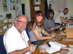 Volunteers processing animal bone