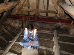 Historic buildings officer Amir Bassir recording the roof at Canons Ashby House (c) MOLA