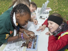 Learning how to identify archaeological finds at the archaeology Open Day at Allen Gardens