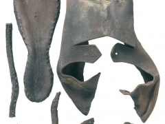 Leather shoes discovered by MOLA at the Crossrail site near Charterhouse (c) Crossrail