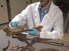 MOLA osteologist, Michael Henderson, recording Crossrail skeletons (c) MOLA