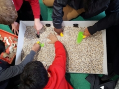 Primary school children excavate on board the Time Truck (c) MOLA
