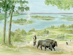 Artist's impression of Bronze Age Thames-side farming on the Greenwich Peninsula © MOLA