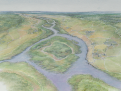 Reconstruction of the landscape around London's Lea Valley during the Mid Holocene period (Bronze Age), c3000 BP © MOLA.jpg