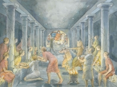 Inside London's temple of Mithras, artist Judith Dobie (c) MOLA