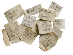 Scotney Castle, coin collection labels ©MOLA