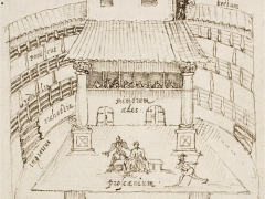 The drawing of the Swan playhouse originally sketched by Johannes De Witt, a Dutch visitor in 1596; note the open space, with some covered seating and partial stage protection, but open yard.  (Courtesy of Wiki Commons)