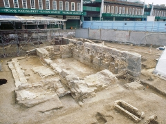 The chapel of the cemetery of St Mary Spital being excavated