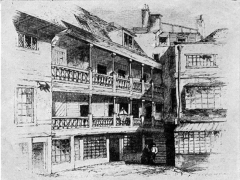 A sketch drawing of the George, in Southwark, London; note the galleries overlooking a courtyard. (Courtesy of Wiki Commons)